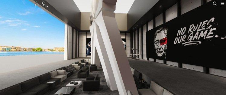 一邊牆上有著品牌創辦人Roger Dubuis先生的海報、另一頭則是日內瓦湖畔的...