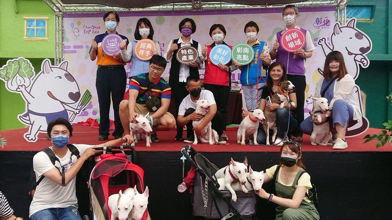彰化百寶村重新開幕,吉祥物是台梗九,多名牛頭梗的飼主帶愛犬亮相。記者簡慧珍/攝影