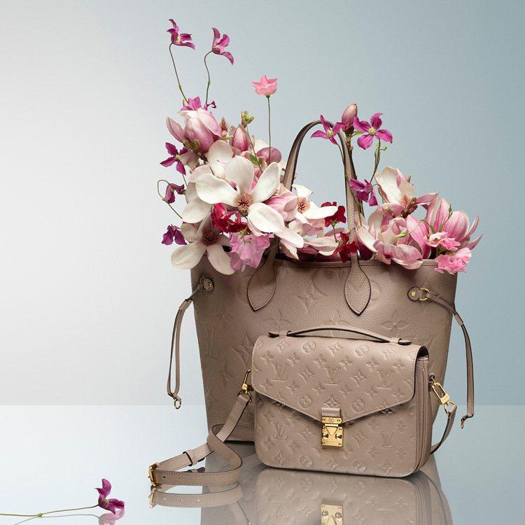 LV母親節各式經典包款以灰、粉色系的典雅風格為主。圖/LV提供