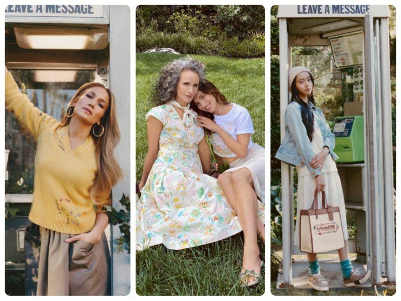 珍妮佛羅培茲、安蒂麥道威爾、木村光希詮釋COACH母親節形象廣告。圖/COACH提供