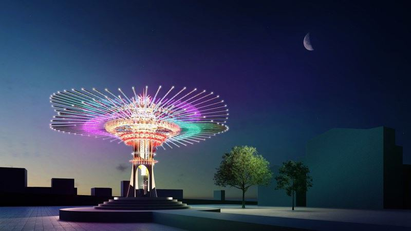 主燈「乘風逐光」透過傳統與機械的展示,呈現如風一般的律動及科技感,帶給民眾不同體驗。圖/豪華朗機工提供提供