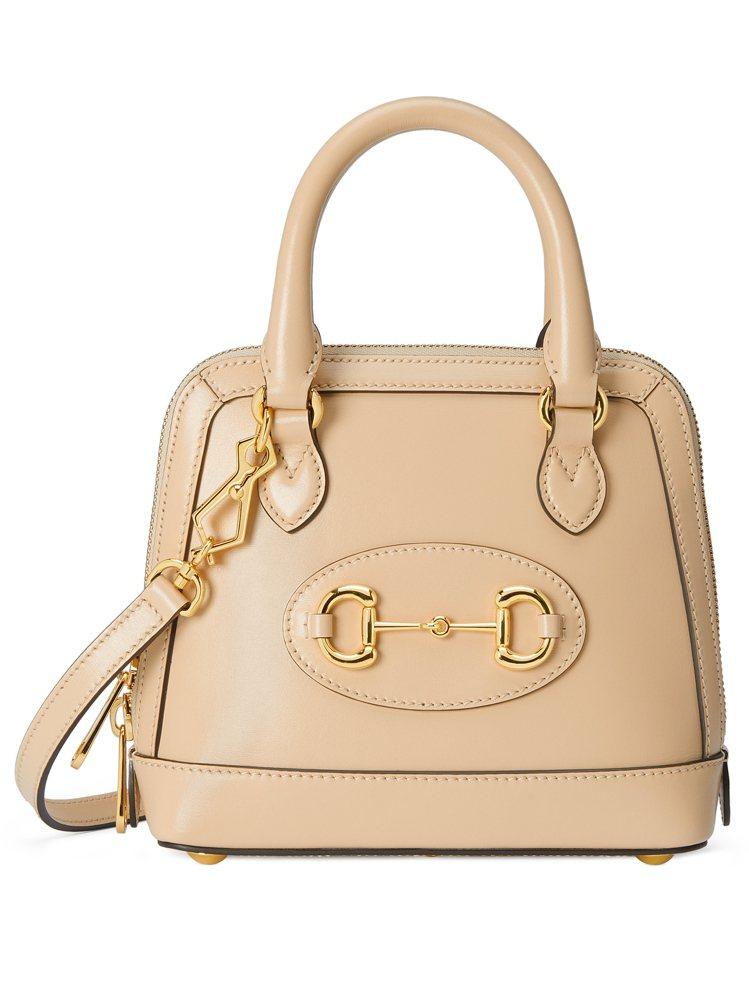 Horsebit 1955 奶茶色迷你手提包,73,800元。圖/Gucci提供
