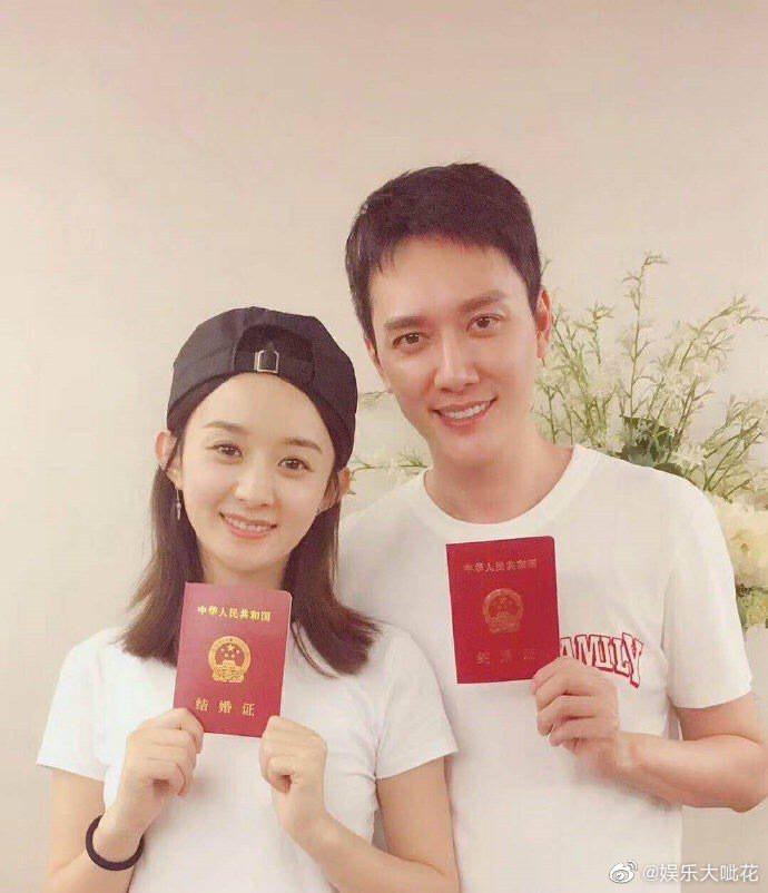 趙麗穎(左)與馮紹峰(右)離婚,連大陸官媒央視都發表評論文章。圖/摘自微博