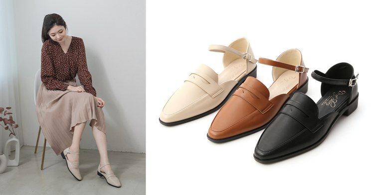 微尖頭踝繫帶樂福鞋。微尖的紳士鞋楦修飾腳型,腳踝的繫帶設計讓俏皮指數提升,2.5...