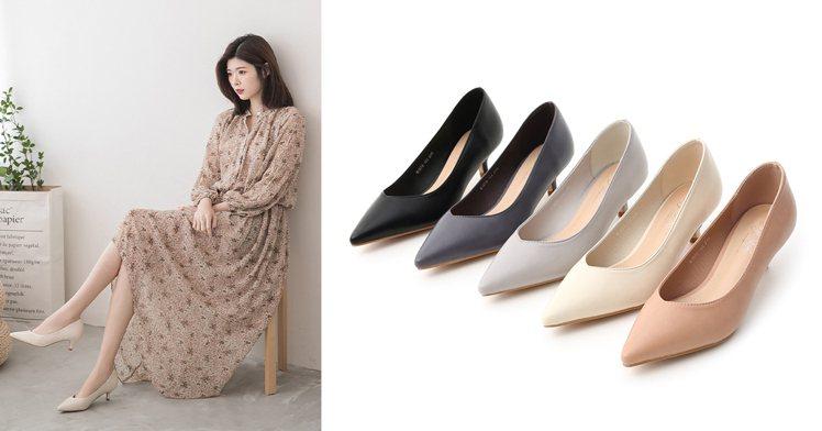 素面尖頭小V口中跟鞋。多樣色系讓人好想包色,簡單的素面造型,優雅尖頭鞋楦美腳效果...