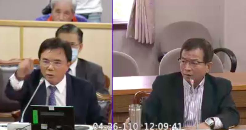 法務部次長蔡碧仲(左)與國民黨立委賴士葆(右)互槓。圖/立法院直播