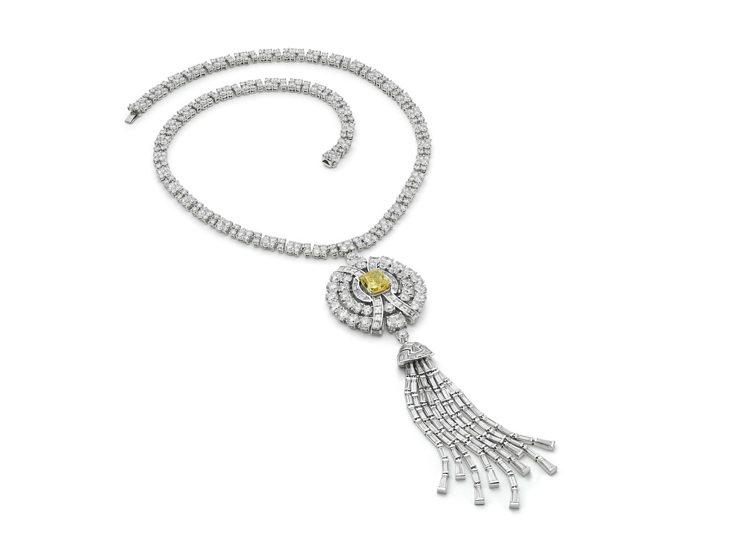 Zendaya配戴的BVLGARI頂級黃鑽與鑽石項鍊,價格店洽。圖/寶格麗提供
