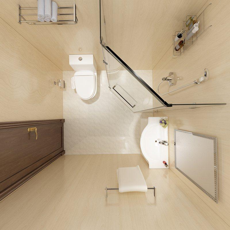 整體浴室採用一體化防水底盤、牆板、頂蓋組成,組裝快速。 圖/一太e衛浴 提供