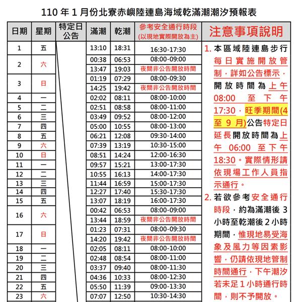 公部門的摩西分海網頁時刻表,以手機瀏覽非常吃力。 圖/交通部觀光局澎湖國家風景管理處