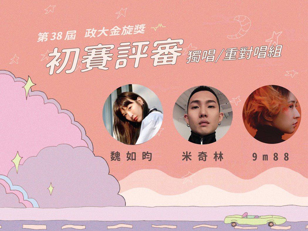 初賽5/1獨唱組、重對唱比賽,邀請到創作歌手9m88、魏如昀與音樂製作人米奇林擔...