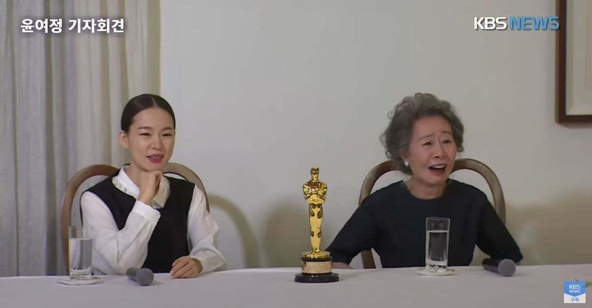 73歲資深韓國演員尹汝貞,也不負眾望地以「夢想之地」勇奪本屆奧斯卡最佳女配角 圖...