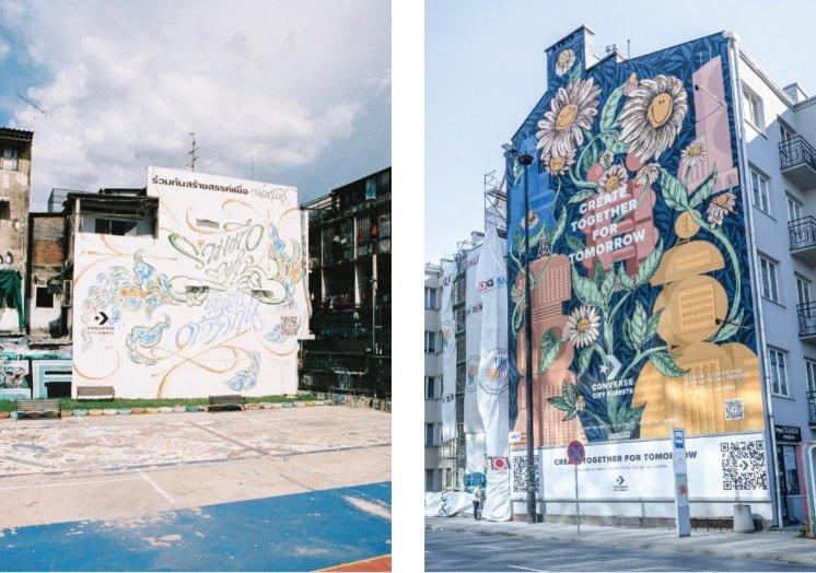 左:泰國曼谷城市森林壁畫、右:波蘭華沙城市森林壁畫。 圖/Converse Ci...