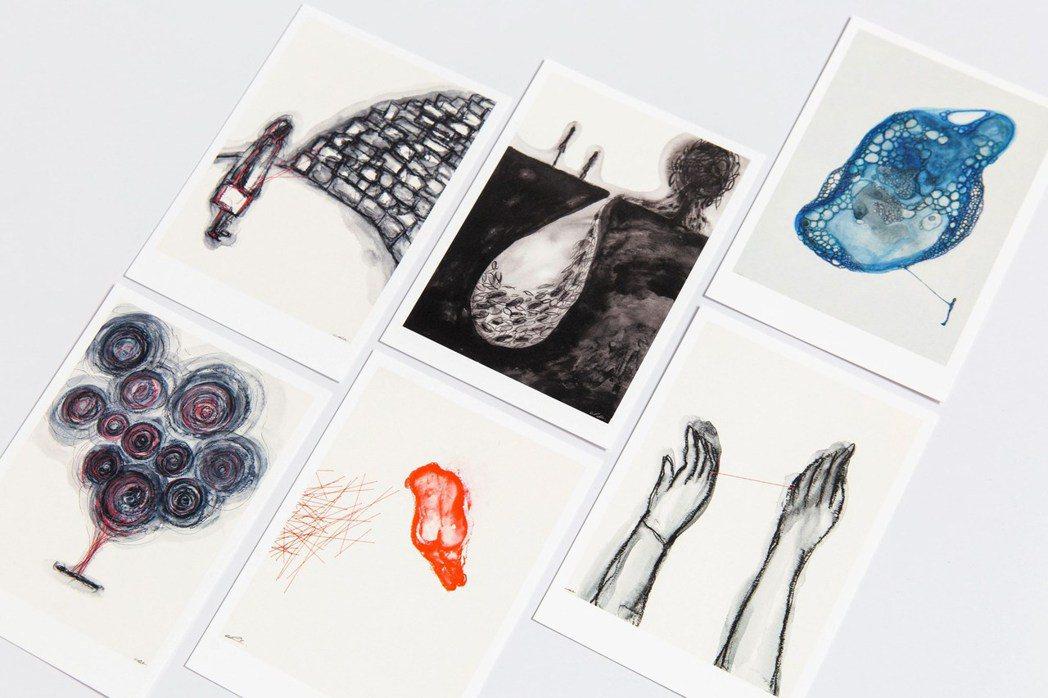 塩田千春手繪明信片 (精裝套組/六款單張) 。 圖/台北市立美術館