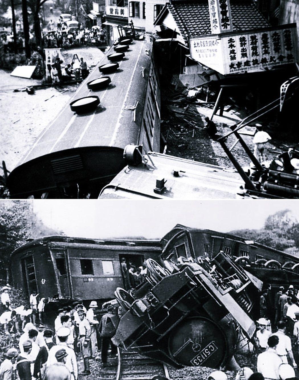 上圖為三鷹事件,列車脫軌撞向車站旁的商店街,造成6人死亡、20多人輕重傷。下圖為...