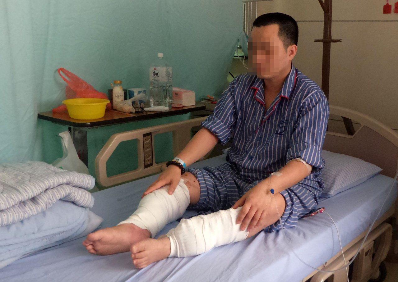 陳和璋的兒子因公途中在陽明山發生車禍,住院治療。 圖/林保光 攝影