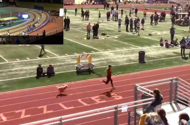 美國猶他州一間高中日前舉辦運動會,在女子接力項目中,一隻狗狗突然「技癢」參賽,在最後一個彎道時突然闖入,反超領先選手「奪冠」。圖擷自MileSplit