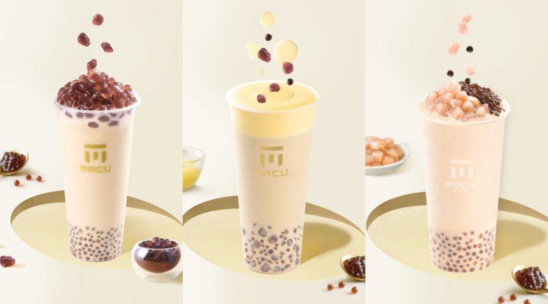 由左至右為「搖滾波波奶茶」、「布蕾搖滾波波奶茶」、「珍芋奶茶」。圖/麻古茶坊提供