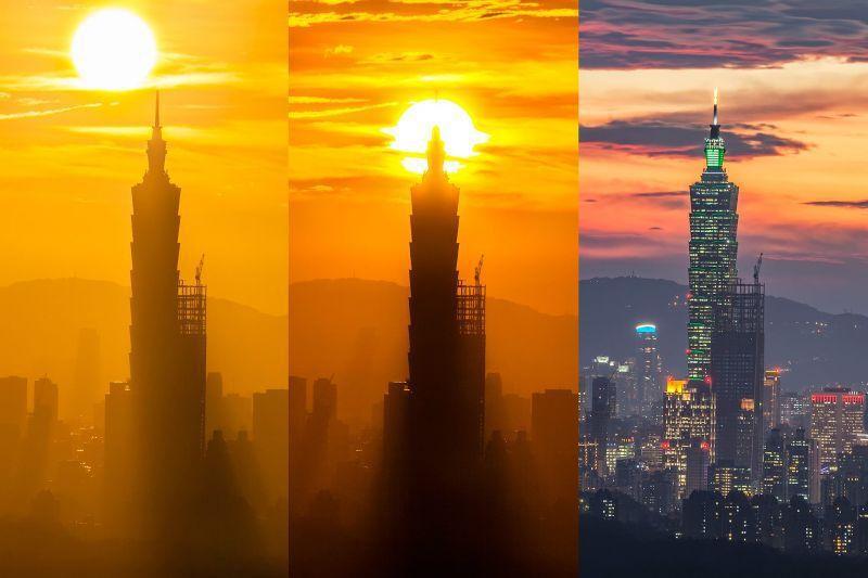 太陽方位角延伸應用:101串丸子(夕陽)  每年10月 圖/散漫生活粉絲團提供 (https://www.facebook.com/alen0514/)