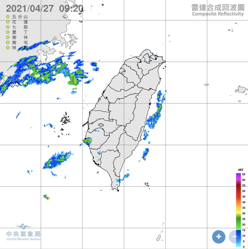 中央氣象局表示,今天偏南風,各地都是多雲到晴的天氣,僅花東、南部有零星短暫雨。圖/氣象局提供