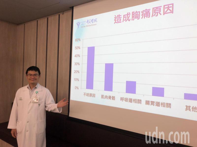 兒童胸痛雖常見,但也可能是重症前兆,奇美醫學中心兒科部主治醫師陳俊宇呼籲家長要特別小心。記者周宗禎/攝影