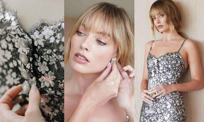 瑪格羅比在本屆奧斯卡典禮上身穿香奈兒2019/20秋冬高級訂製服系列的金屬花卉蕾絲刺繡連身洋裝,上面還飾以珠寶鈕扣,這件洋裝共耗時205個小時製作完成。圖/香奈兒提供