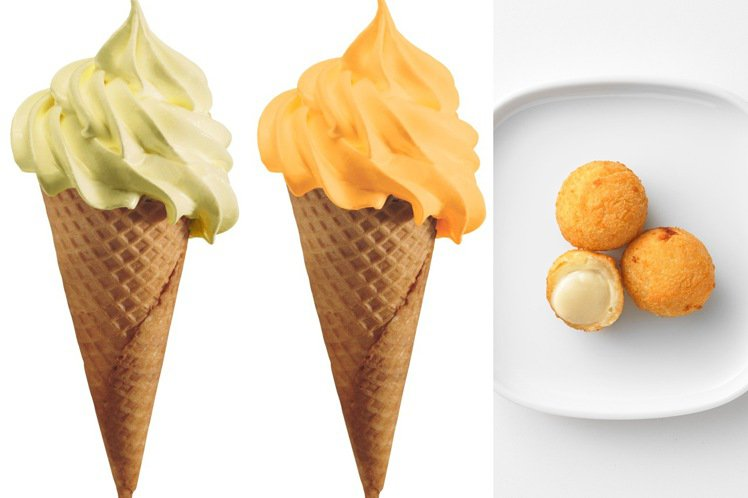 IKEA五月推限定甜點,榴槤口味霜淇淋20元(左起)、哈密瓜霜淇淋20元、榴槤球...