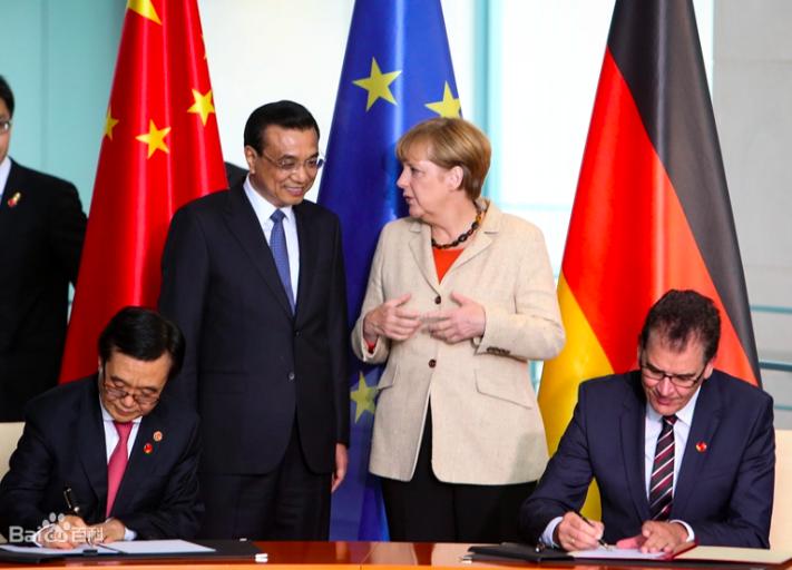 圖為大陸國務院總理李克強於2014年10月與德國總理梅克爾共同主持第三輪中德政府磋商。百度圖庫