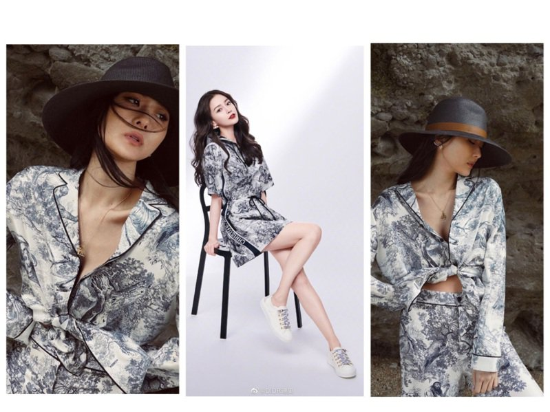 孫芸芸身穿和Angelababy以不同風格詮釋DIOR Chez Moi塔夫綢緹花系列。圖/取自IG、微博