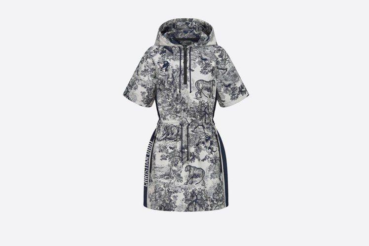 DIOR Chez Moi塔夫綢緹花短版連帽連身裙,13萬元。圖/取自DIOR官...