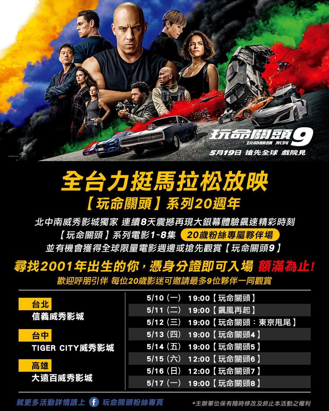 「玩命關頭」系列即將在最新一集上映前舉辦前8集的馬拉松回顧重映。圖/UIP提供