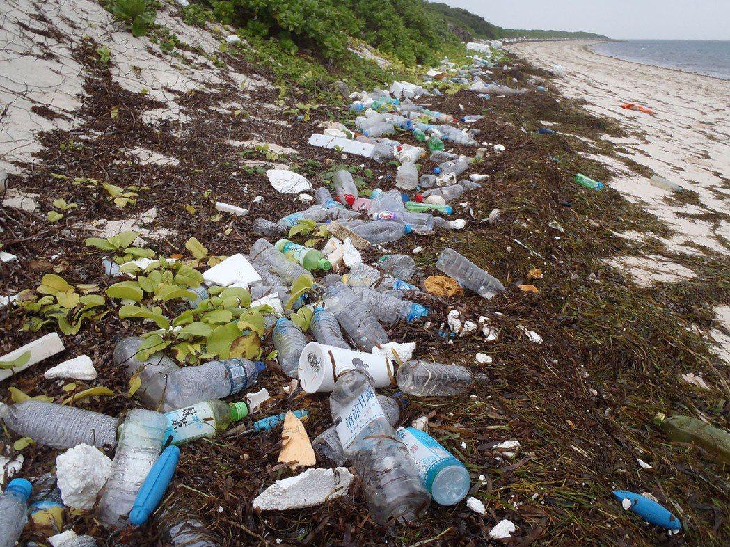 鄭明修發現東沙島海漂垃圾多得嚇人,圖片為東沙島岸上的海漂垃圾。 圖/鄭明修