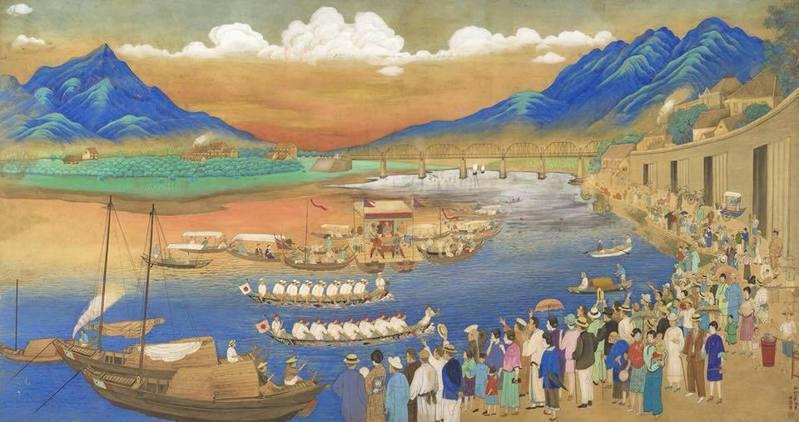 蔡雪溪,《扒龍船》,1930,臺北萬豪酒店藏。圖像來源:尊采藝術中心。