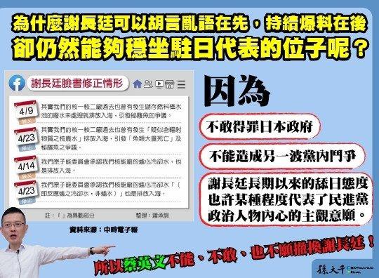 前立委孫大千認為駐日代表謝長廷沒有被撤換有3理由。圖/取自孫大千臉書