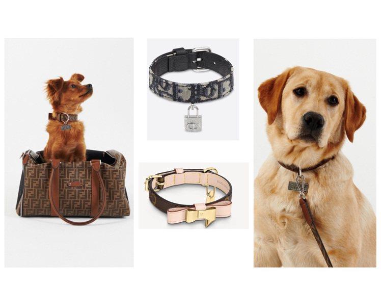 FENDI、LV和DIOR都推出寵物系列超可愛配件。圖/各品牌提供