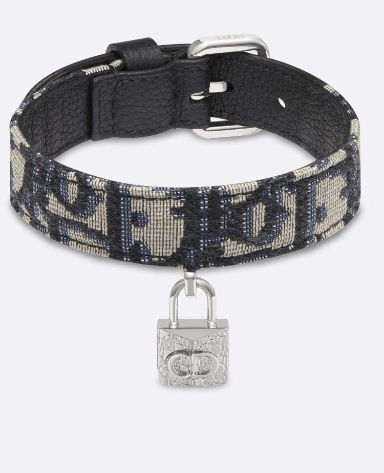 Dior Oblique黑、米色緹花狗頸帶,14,000元。圖/取自DIOR官網