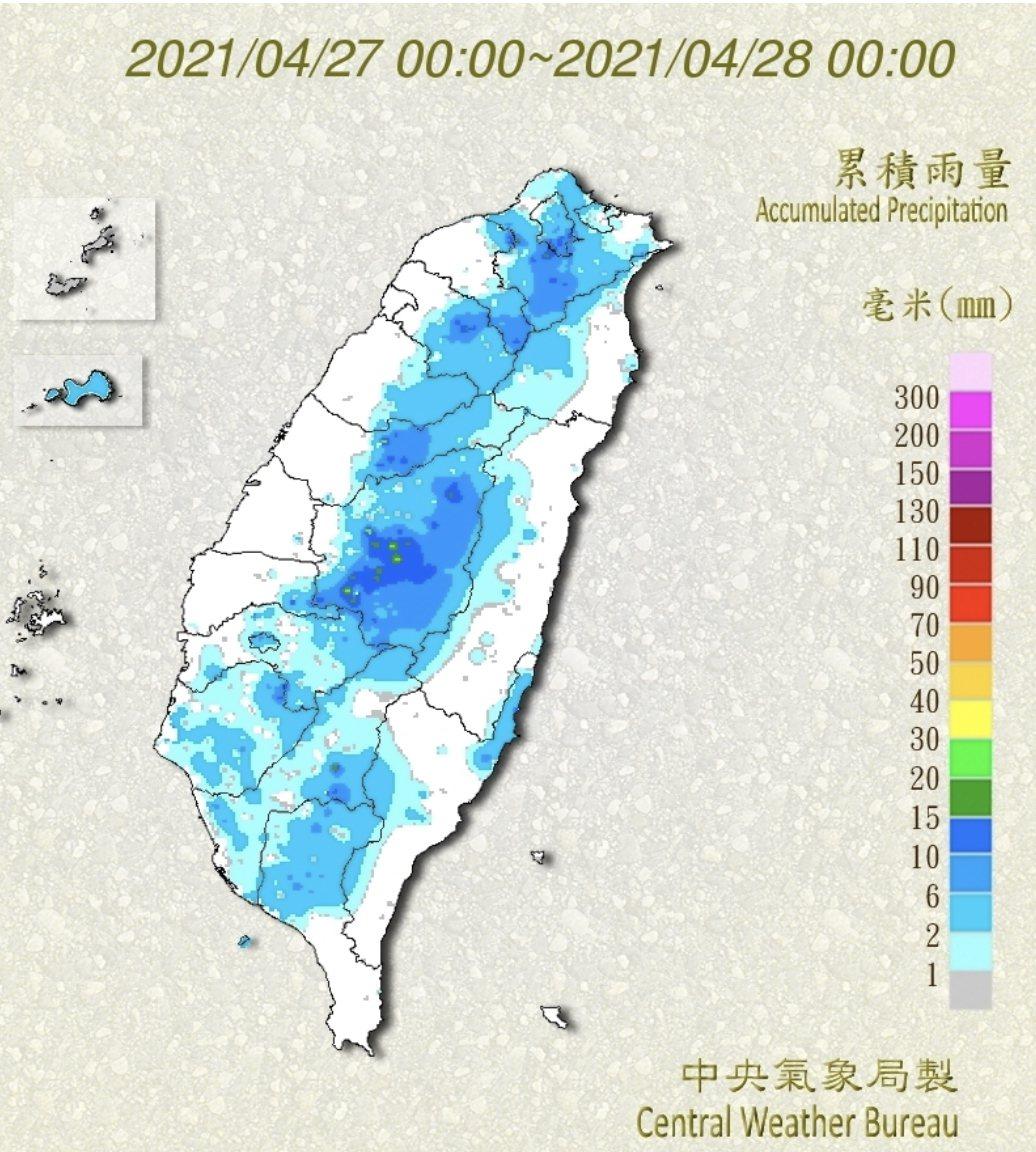 這兩天全台各地有零星雨量,但對缺水的中南部來說,解渴有限。圖/氣象局提供