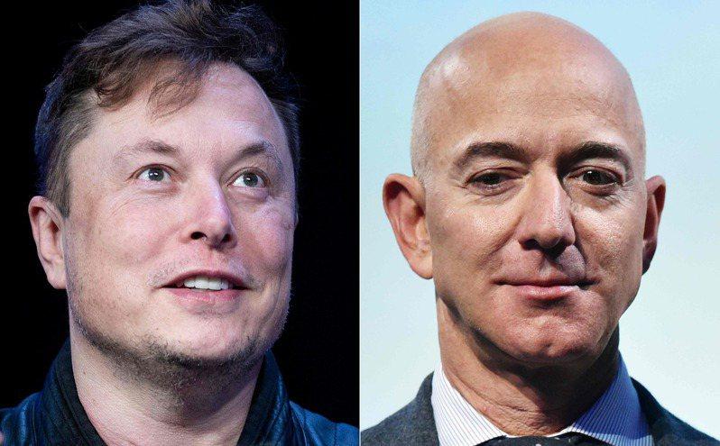 美國航太總署日前選中馬斯克(左)的SpaceX作為開發新一代登月載具的廠商。但亞馬遜創辦人貝佐斯(右)顯然對他的藍色起源沒能勝出心有不甘,27日正式具狀提出抗議。法新社