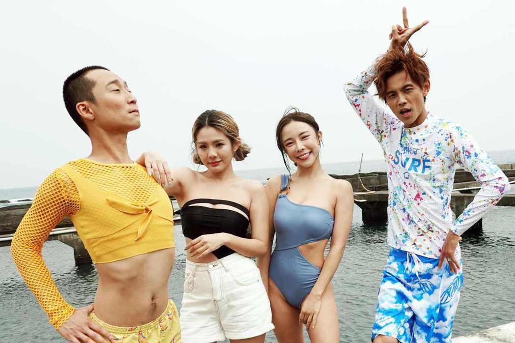 浩子(左起)、鮪魚、巫苡萱以及阿翔錄民視「綜藝新時代」。圖/民視提供