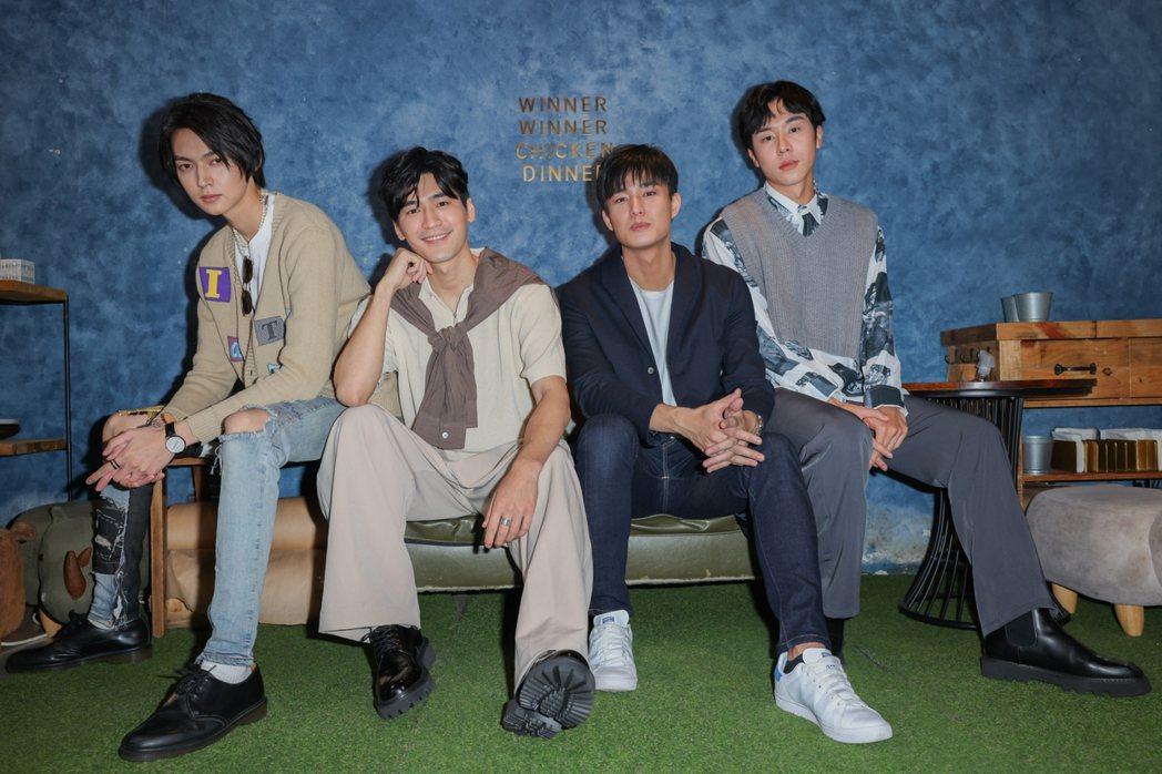 陳立安(左起)、涂善存、安俊朋、林嘉威為主演「HIStory4-近距離愛上你」宣...
