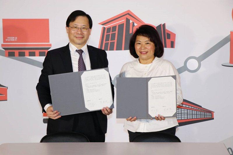 2021台灣設計展今天在經濟部舉行簽約記者會,嘉義市長黃敏惠(右)與經濟部次長林全能共同宣告台灣設計展將於9月30日開幕。圖/嘉義市政府提供