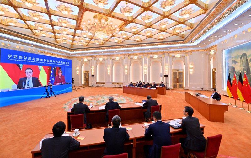 大陸國務院總理李克強今下午以視訊方式與德國總理梅克爾舉行第六輪中德政府磋商。圖/取自中國政府網