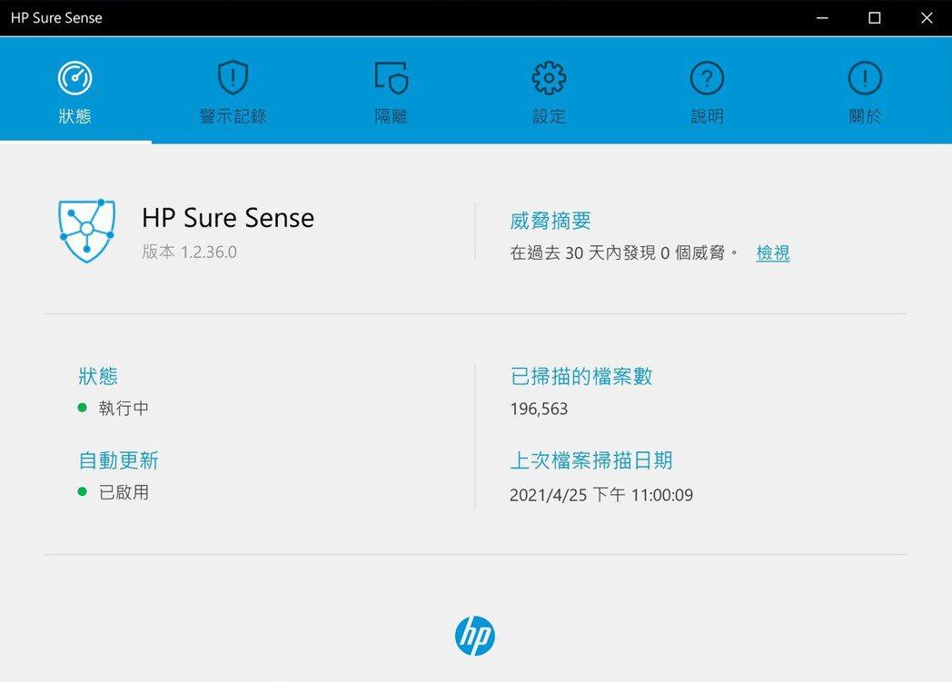 HP Sure Sense則由提供防毒、掃毒。 彭子豪/攝影