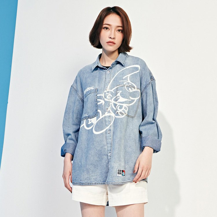 Stayreal藍色小精靈系列丹寧襯衫2,480元。圖/Stayreal提供