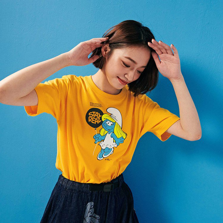 Stayreal藍色小精靈系列漂浮氣球T恤1,280元。圖/Stayreal提供