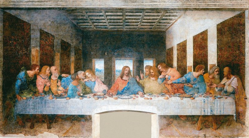達文西〈最後晚餐〉,為米蘭「恩寵聖母院」(Santa Maria delle Grazie) 內之原作壁畫(取自:https://reurl.cc/ZQL1Vl)。(圖/洪雯倩提供)
