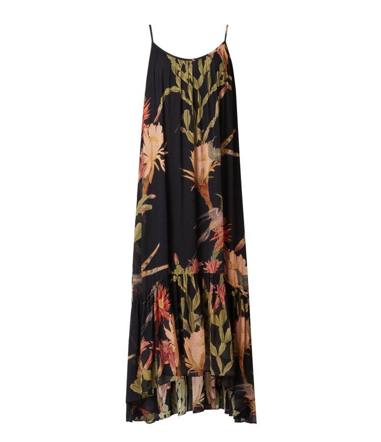 AllSaints Paola Nolina黑底印花細肩帶長洋裝11,200元。...
