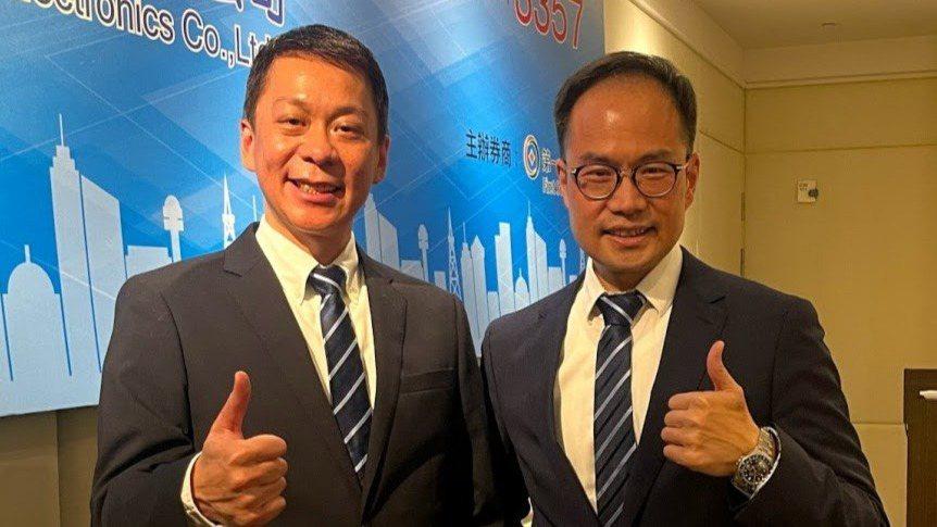 台慶科董事長謝明諺(左)與總經理謝明良(右),兄弟合作經營推升公司去年營收獲利同...