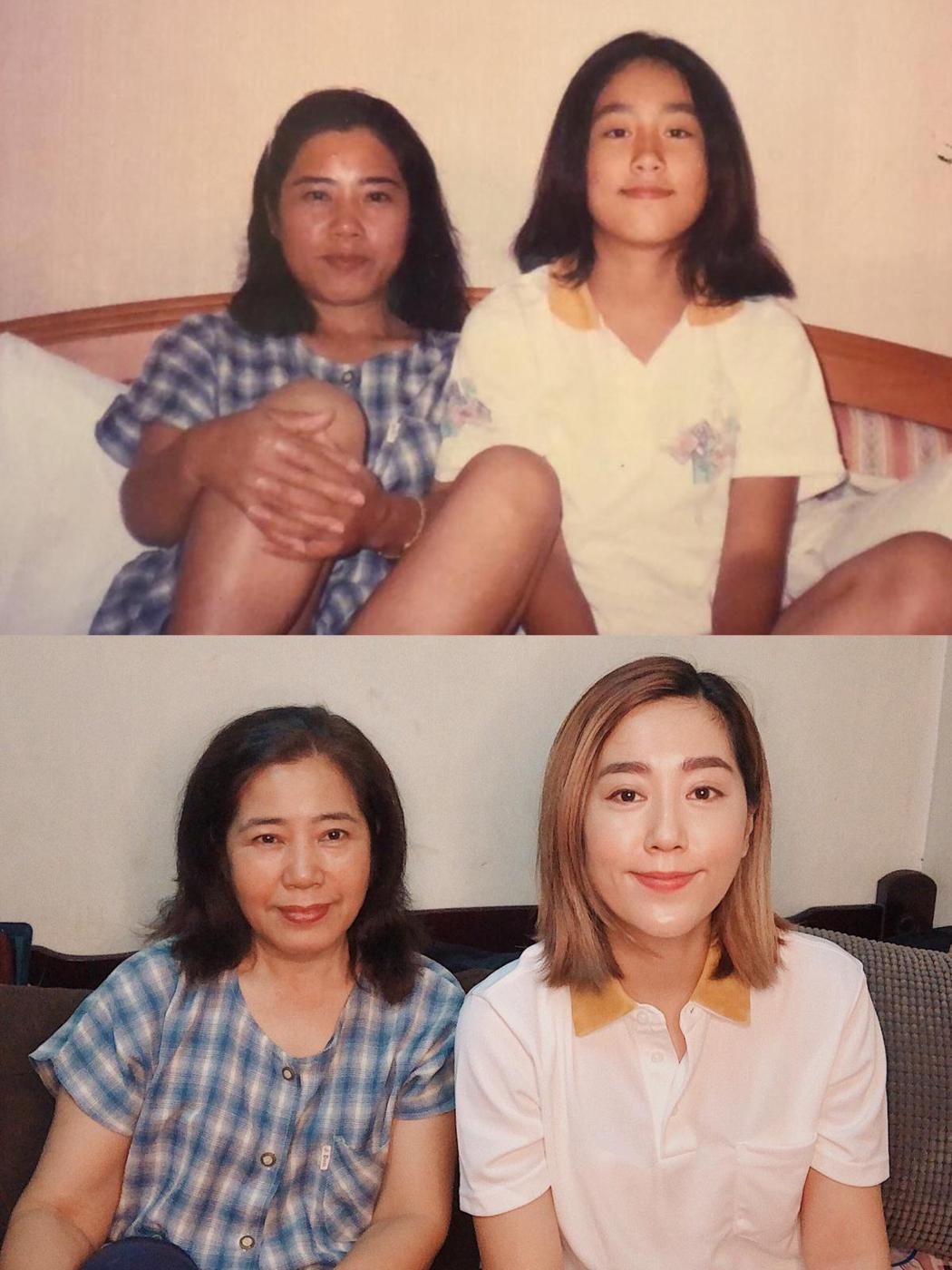 小男孩樂團主唱米非(右)跟媽媽穿著20年前的舊裝再度合照。圖/摘自臉書