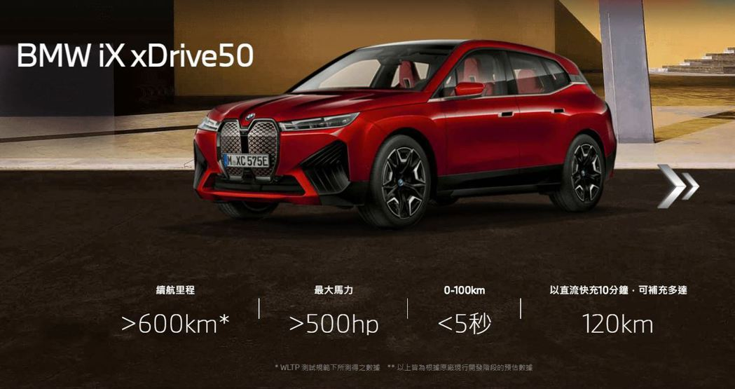 BMW iX xDrive50最大馬力可達500hp,續航距離還可超過600公里...