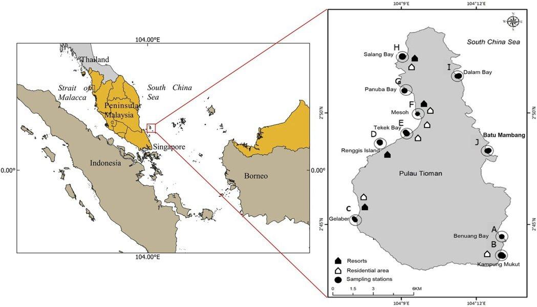 研究於馬來西亞刁曼島的10採樣站點,西海岸盛行旅遊及各式水上活動 海大/提供